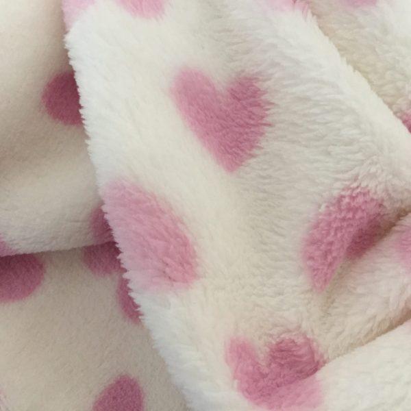 coperta per cani in pile cuori rosa