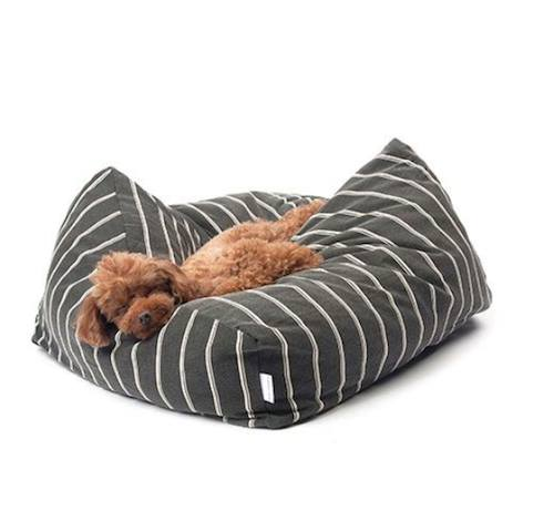 Cuscino per cani sfoderabile double stripe cushion black mayonnaise